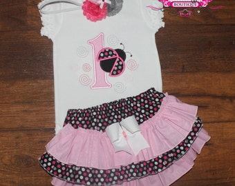 Lady Bug First Second Ruffled Bloomers or Skirt Outfit with Matching Headband