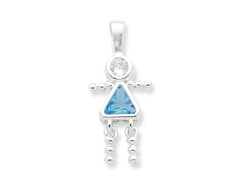 Sterling Silver CZ & March Glass Girl Pendant