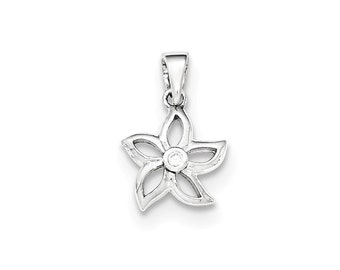 Sterling Silver Flower with CZ Pendant