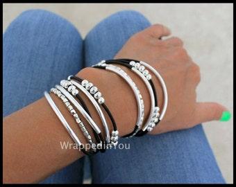 BOHO Leather Wrap Bracelet - Adjustable Cascading Silver Tubes Genuine LEATHER Triple Wrap Beaded Stackable Bangle Bracelet - USA - 769