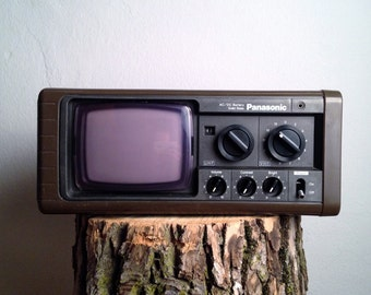 Vintage Panasonic TV Vintage Television Portable TV Mod 70s TV Like Sony or Philco Chocolate in Color