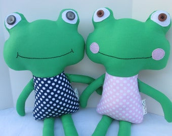 Frog Softie with Pink or Navy polka dots, Ready to ship, Baby or Toddler Toy, frog stuffed animal, baby frog toy