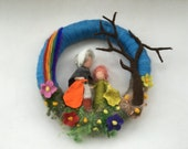 Mother earth, root children ,Wreath. Felted .Waldorf. Wall hanging.Spring.