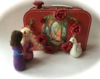 Sleeping beauty,in a trunk.Prince,Swan,Fairy tale .Doll,Story,Felted. Waldorf