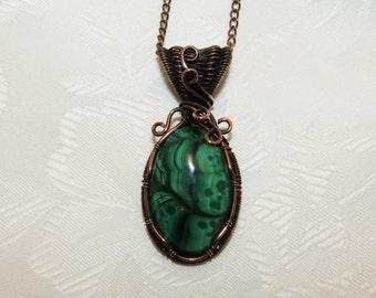 Malachite Pendant, Copper, Wire Wrapped/Woven