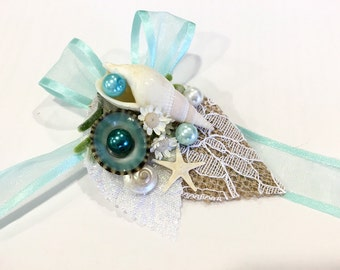 Beach Wedding Wrist Corsage-Mermaid Corsage-sea Shell Corsage-Aqua Corsage-Beach Wedding Corsage-Mermaid Wedding