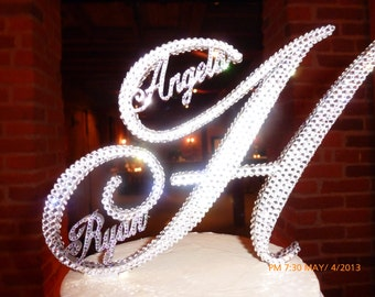 Gorgeous Swarovski Crystal Cake TOPPERS 6'' WITH first NAMES customized in Any Letter