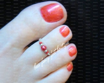 Toe Ring - Ruby Red Pearl - Stretch Bead Toe Ring