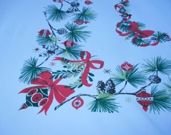 """VINTAGE CHRISTMAS TABLECLOTH  Ornaments & pine boughs MiD CenTuRy MoDeRn 61"""" x 67"""""""