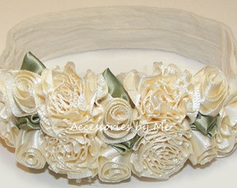 Rose Headband, Baptism Ivory Hair Band, Flowers Cream Roses Head Band, Newborn Infant Babies Bands, Church Christening Blessing Cream Bands