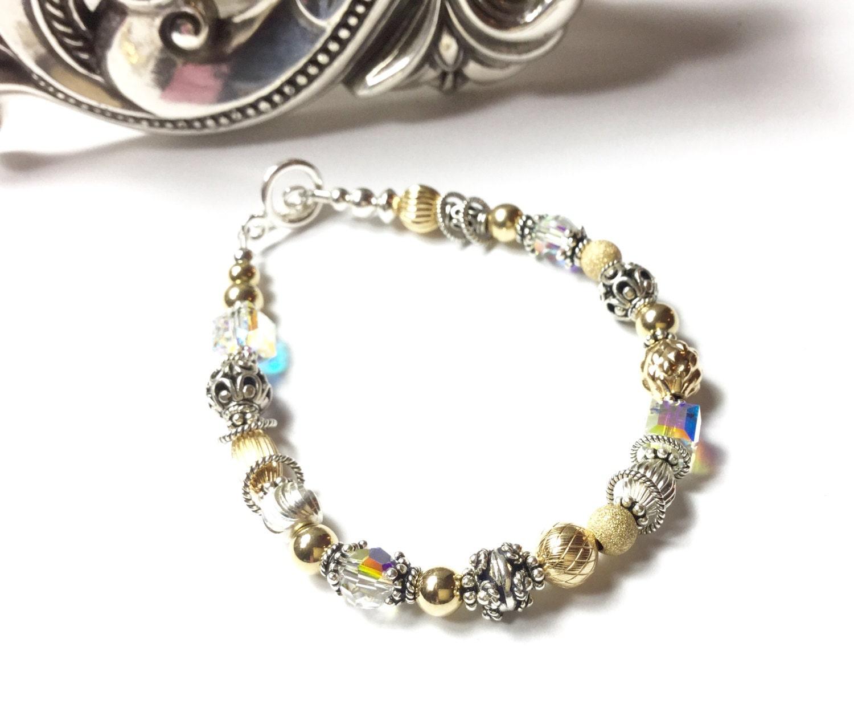 Silver and Gold bracelet, Gold bracelet, Gold Bead Bracelet, Silver Bead Bracelet, Silver & Gold Jewelry, Gold Silver Bangle, Sundance Style