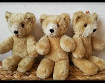 Vintage mohair teddy bears, Shanghai Dolls Factory teddy bear, Pure wool teddy bear, Vintage bear from 50s or 60s