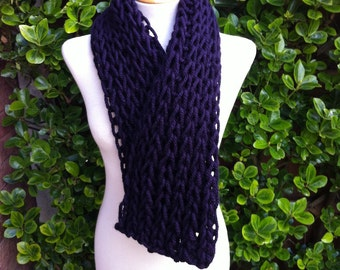 Hand Knitted Scarf - Luxurious Chunky Scarf in a fantastic Aubergine / Dark Purple