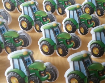 24 Johnny Tractor JOHN DEERE rings for cupcake toppers cake birthday party favors goodie bags decorations decor farm ranch farmer country