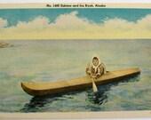 Eskimo and his Kayak. Alaska. Vintage linen finish postcard.