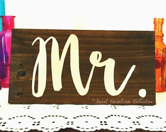 Table Decor Wooden Wedding MR MRS Signs - WS-186