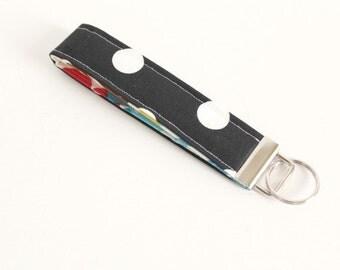 Polka Dot Key Fob Wristlet Black and White Key Fob Wristlet. Gift for Her Key Chain Key Fob