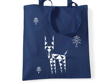 Cotton shopping bag, stag tote, Geometric deer, student tote bag, navy blue