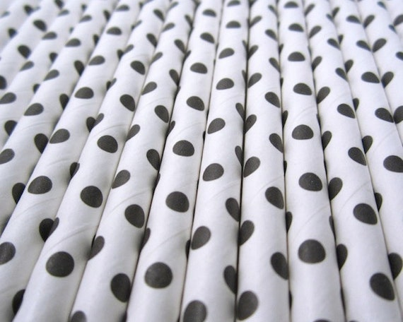 25 Black Swiss Dots Paper Drinking Straws - Party Decor Supplies Tableware
