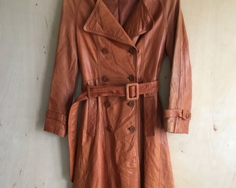 70's Brown Leather Trenchcoat