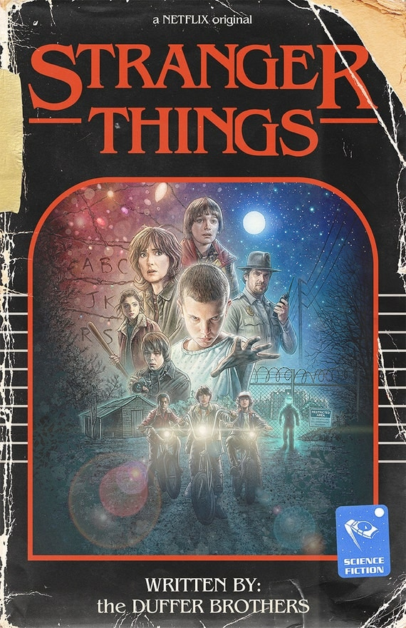 Vintage Book Cover Posters : Stranger things vintage book cover poster