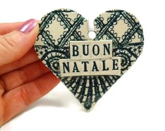 Buon Natale Ornament, Italian Ornament, Holiday Decor, Italian Christmas, Italian Decoration,  Italy Christmas, Christmas Tree Ornament
