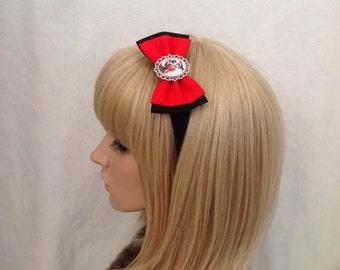 Harley Quinn headband hair bow rockabilly psychobilly joker batman super hero geek pin up dc comics marvel red black accessories punk ladies