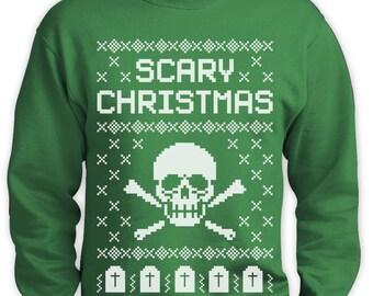 Ugly Scary Skull Christmas Sweater Men Sweatshirt
