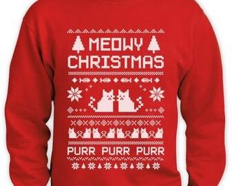 Meowy Ugly Christmas Sweater Men Sweatshirt Funny Cat