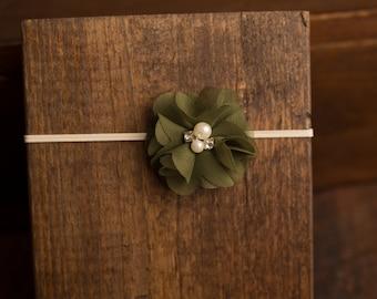 Evergreen Chiffon Flower Rhinestone Headband, photo prop, Newborn, toddler, adult