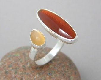 Carnelian and Peach Moonstone Ring ~ Sterling Silver ~ Adjustable Open Concept
