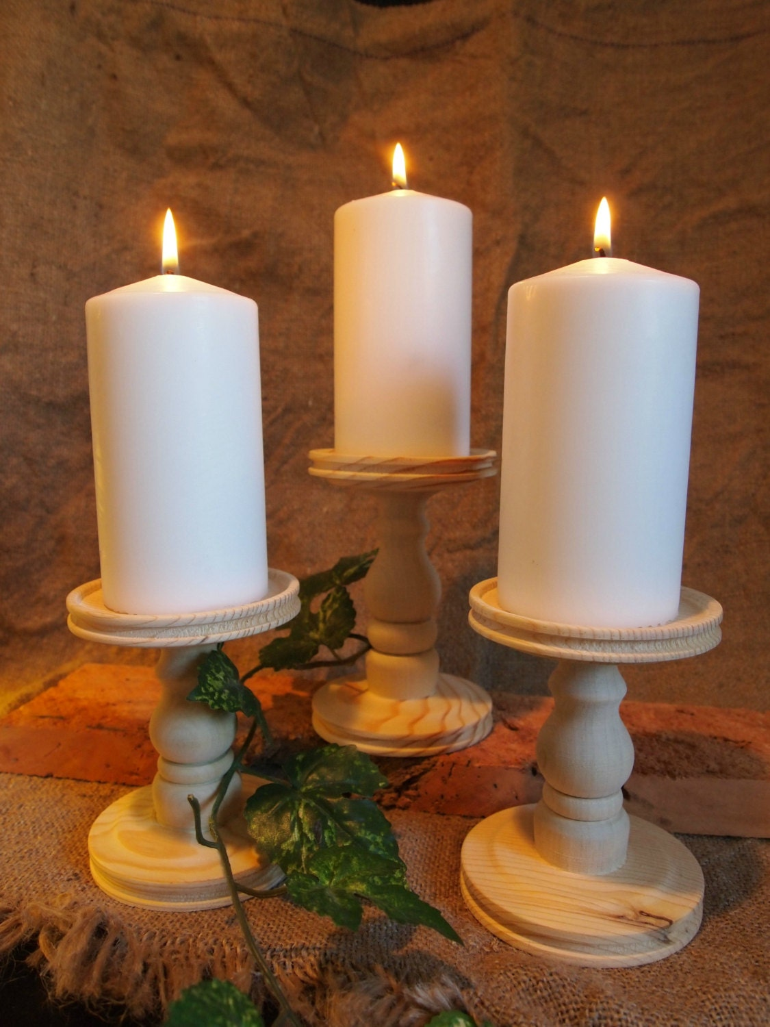 Set of 3 unfinished candle holders 5 and 6 - Unfinished wood candlestick holders ...