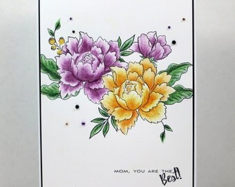 Peony Mother's Day Card, Happy Mothers Day, Mum's Day, Peony Card, Handmade Card - Purple and Yellow