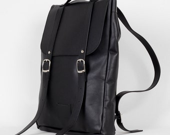 Black middle size leather backpack rucksack / To order / Black Leather Backpack / Leather Backpack / Leather rucksack /