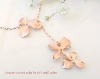 Rose Gold Lariat Necklace - Delicate Orchid Flower Bridal Dainty Necklace Bridesmaid Wedding Jewelry Gift