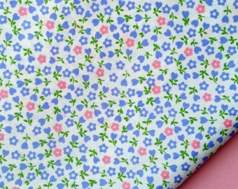 Ditsy Flower Fabric - Pink and Light Blue Flowers on White Cotton