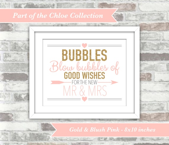 INSTANT DOWNLOAD - Chloe Collection - Printable Wedding Bubbles Sign - 8x10 Digital Files - Gold and Blush Pink - Good Wishes - Mr and Mrs