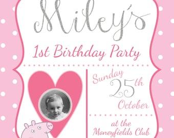 Peppa Pig birthday invitation silver glitter polka dot printable digital