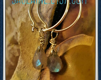 SageAine : Labradorite Gold Hoop Earrings, Auric Shield Spiritual Power, Anchors Lightbody, Reiki Charged, Crystal Healing