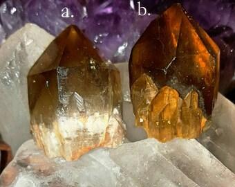 SageAine: Citrine Abundance Trigonic Quartz Crystal, Prosperity Stone, Reiki Charged, Crystal Healing, Solar Plexus Chakra
