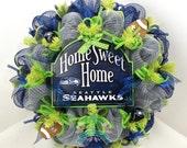 Seattle SeaHawks Fan Blue and Silver Deco Mesh Door Wreath