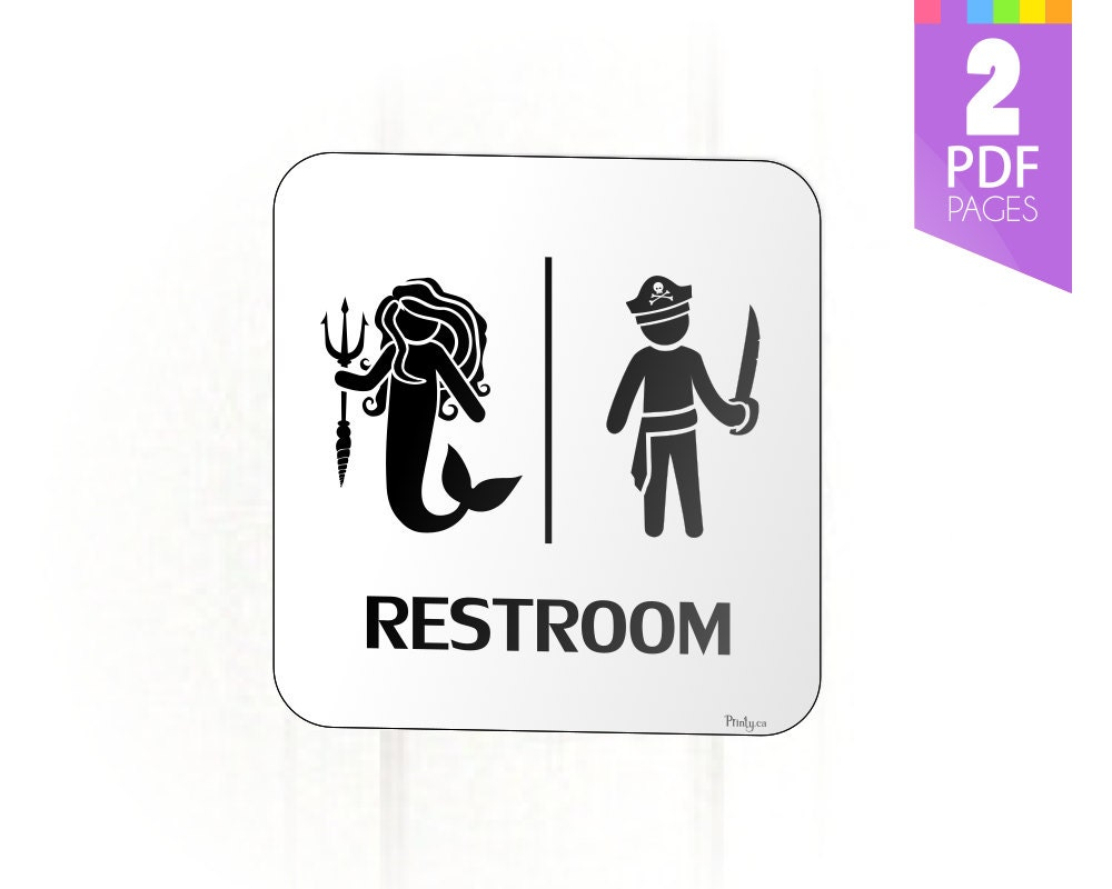 Bathroom Signs Pdf mermaid and pirate restroom sign for birthday party decor