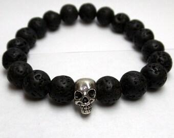 Black Onyx Skull Bracelet 10mm/ Lava Onyx Skull Bracelet/ Lava Rocks Bracelet/ Rough Onyx Skull Bracelet