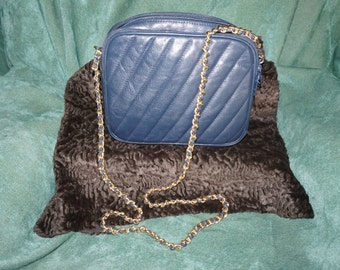 Giani Bernini Handbag, navy blue leather.