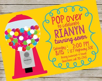 Bubble Gum Invitation PIY file ~ Bubble Gum Birthday Party ~ Bubble Gum Printable Digital File