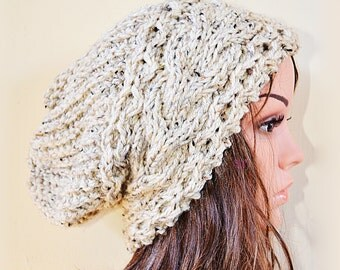 Slouchy cable mix style beanie hat - OATMEAL (or choose color)- womens - baggy - chunky - slouch - gift - vegan friendly