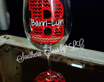 Personalized Custom Initials Chrevron Wine Glass - Stemmed or Stemless