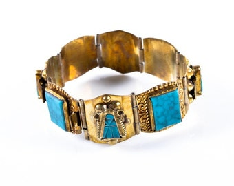 Mexican Turquoise Bracelet Featuring Semi-Precious Stone Accents