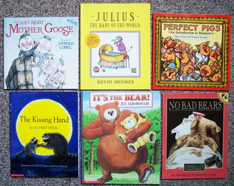 1980/90s Childrens Book Lot of 24 - Perfect Pig, Kissing Hand, Annabelle Swift, Shrek, Anno's Counting Book, Yonder, It's The Bear, Together