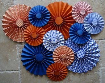 "Set of 12 Large 12"" / 6"" Paper Rosettes/Fans - Blue and Orange"